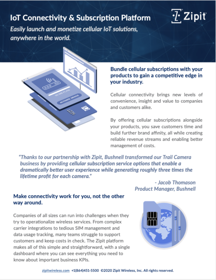 Zipit IoT Connectivity and Subscription Platform